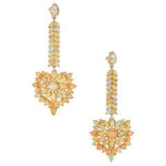 10.00 Carat Opal Diamond Yellow Gold Dangle Drop Earrings