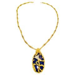La Triomphe 1960s 18 Karat Gold VS Diamond Lapis Lazuli Pendant Necklace
