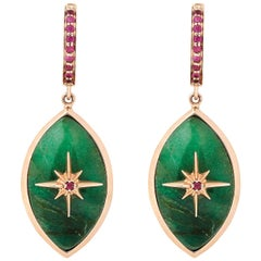Marlo Laz Brazilian Jade Pink Ruby 14 Karat Rose Gold Evil Eye Earrings