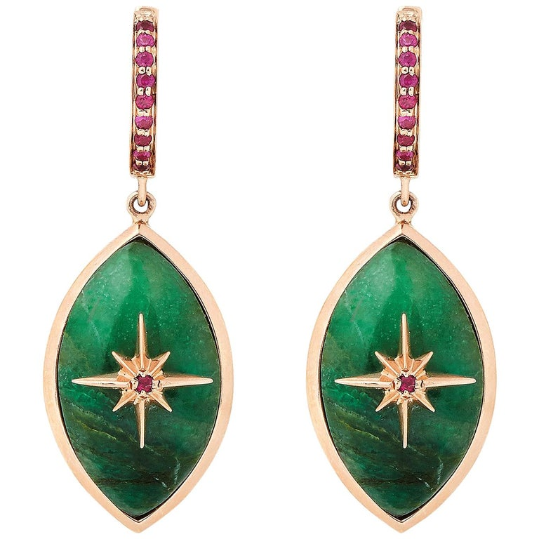 Marlo Laz Brazilian Jade Pink Ruby 14 Karat Rose Gold Evil Eye Earrings For Sale