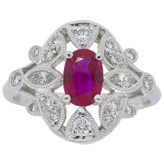 Filigree Diamond and Ruby Ring in Platinum