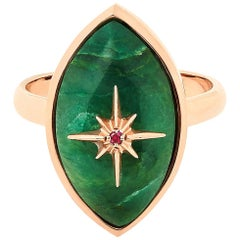 Marlo Laz Brazilian Jade Pink Ruby 14 Karat Yellow Gold Evil Eye Ring