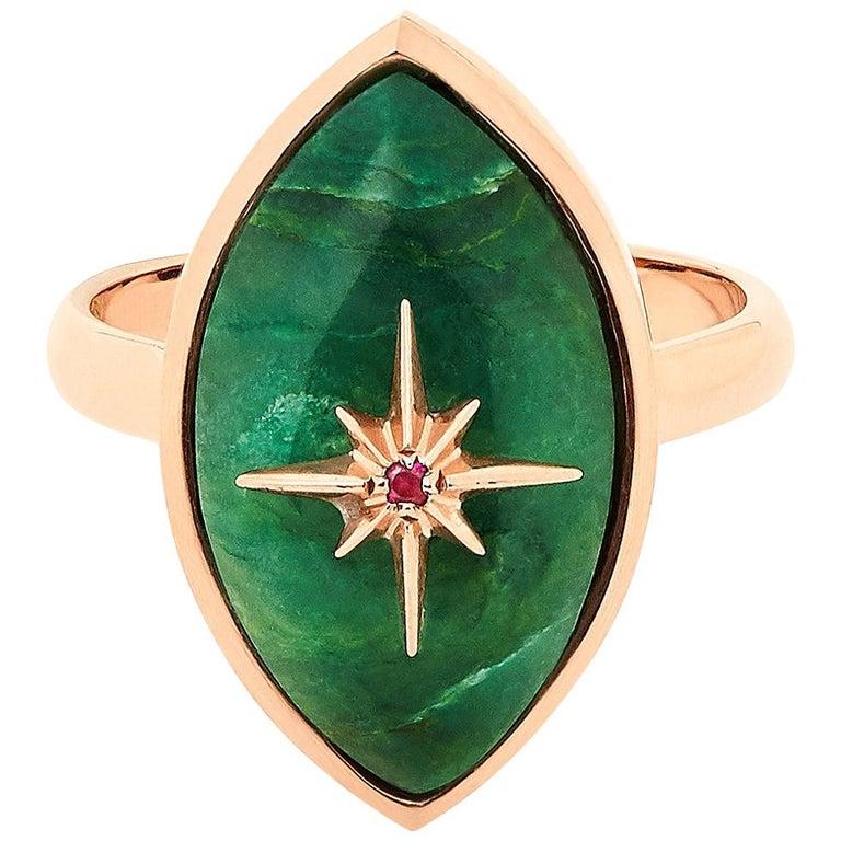 Marlo Laz Brazilian Jade Pink Ruby 14 Karat Yellow Gold Evil Eye Ring For Sale