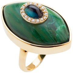 Marlo Laz Green Tourmaline Brazilian Jade 14K Yellow Gold Evil Eye Cocktail Ring