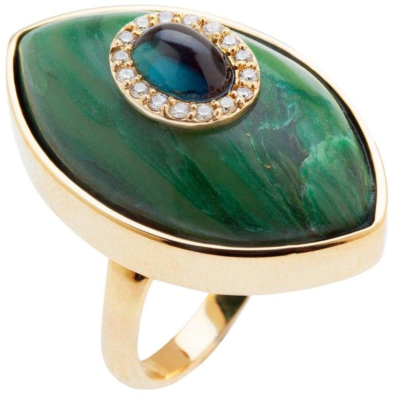 Marlo Laz Green Tourmaline Brazilian Jade 14K Yellow Gold Evil Eye Cocktail Ring For Sale