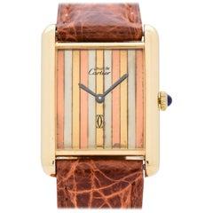 Cartier Tank Must de Men's Sized Watch with a Tri-Color Dial, 1990s