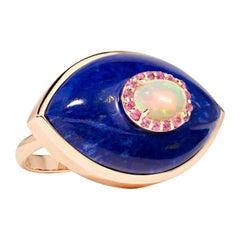 Marlo Laz Pink Sapphire Lapis Lazuli Opal 14K Rose Gold Evil Eye Cocktail Ring