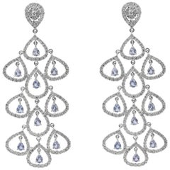 Sapphire and Diamond Open-Work Chandelier Earrings