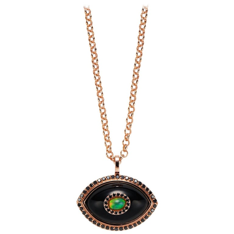 Marlo Laz Black Diamond Black Onyx Opal 14K Rose Gold Evil Eye Pendant Necklace  For Sale