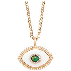 Marlo Laz Diamond White Onyx Opal 14K Yellow Gold Evil Eye Pendant Necklace