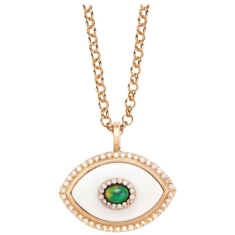 Marlo Laz Diamond White Onyx Opal 14K Yellow Gold Evil Eye Pendant Necklace For Sale