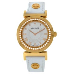 Authentic New Versace Vanity Gold Tone Diamond Quartz Watch