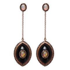Black Diamond Black Onyx Opal 14K Rose Gold Evil Eye Amulet Talisman Earrings