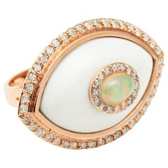 White Diamond White Onyx Opal 14K Yellow Gold Evil Eye Amulet Cocktail Ring