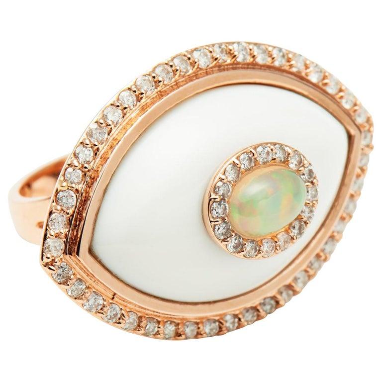 Marlo Laz White Diamond Onyx Opal 14K Yellow Gold Evil Eye Amulet Cocktail Ring For Sale