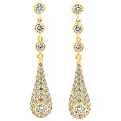 Diamond Yellow Gold Teardrop Earrings