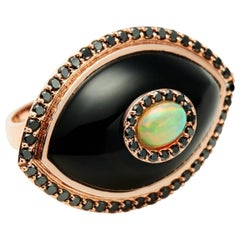 Black Diamond Black Onyx Opal 14K Rose Gold Evil Eye Amulet Cocktail Ring