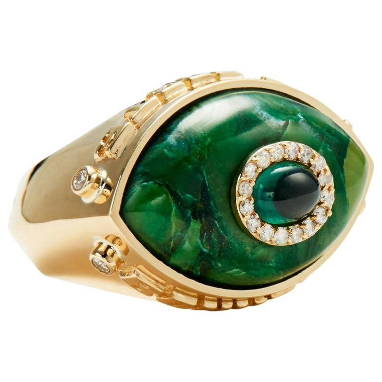 Marlo Laz Diamond Green Tourmaline Brazilian Jade Evil Eye Chunky Cocktail Ring For Sale