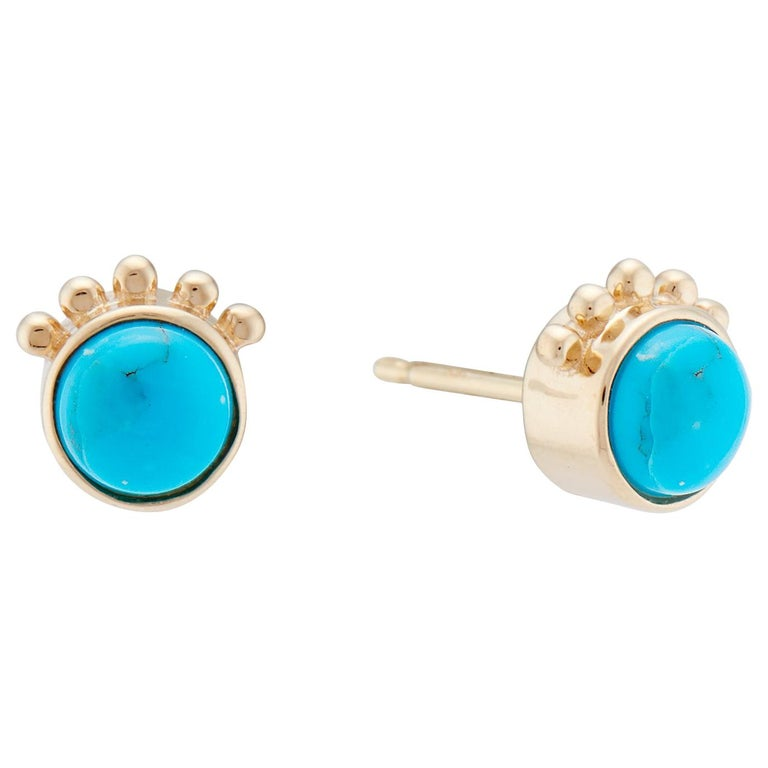 Marlo Laz Turquoise 14K Yellow Gold Southwestern Squash Blossom Stud Earrings For Sale