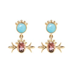 Marlo Laz Turquoise Pink Tourmaline 14K Yellow Gold Squash Blossom Earrings