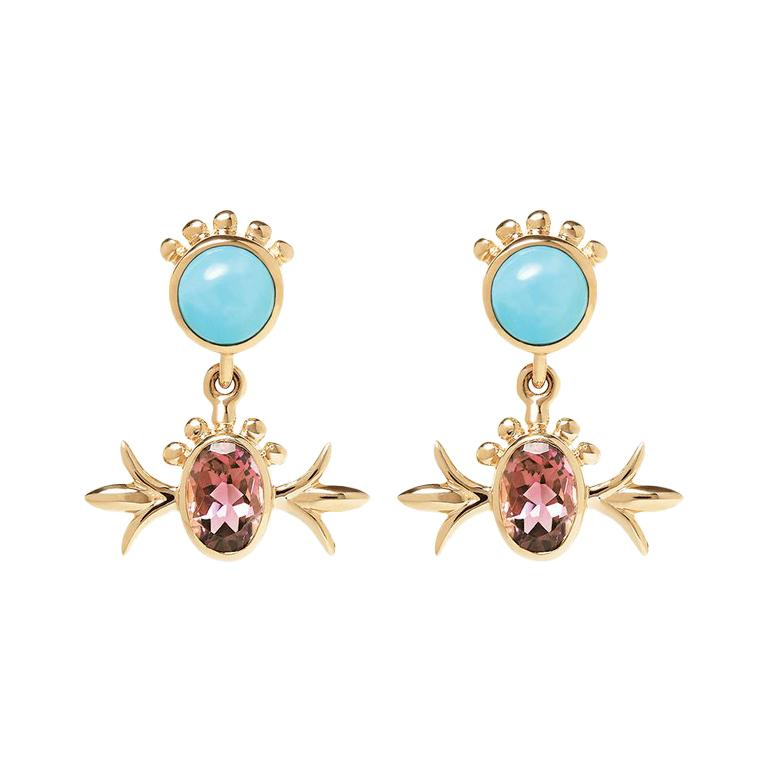 Marlo Laz Turquoise Pink Tourmaline 14K Yellow Gold Squash Blossom Earrings For Sale
