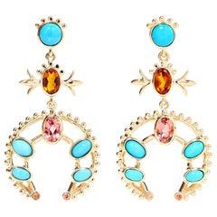 Marlo Laz Turquoise Pink Tourmaline Sapphire 14K YG Squash Blossom Earrings