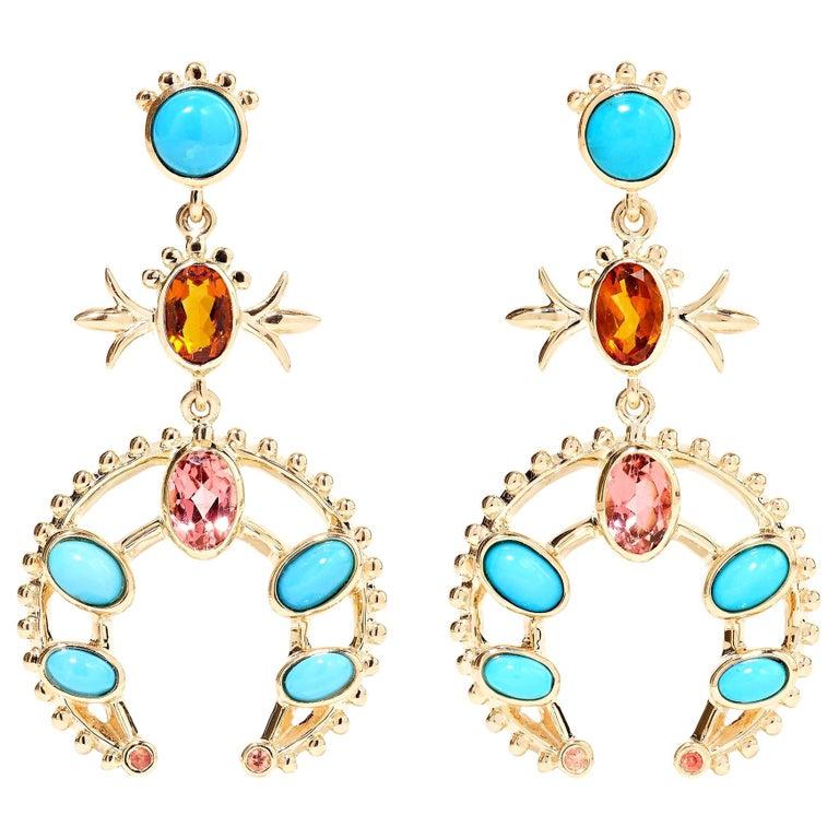 Marlo Laz Turquoise Pink Tourmaline Sapphire 14K YG Squash Blossom Earrings For Sale