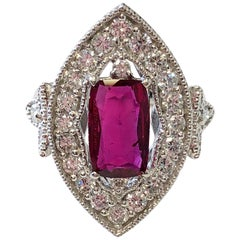 GIA Mozambique Ruby Cushion and White Diamond Ring in Platinum