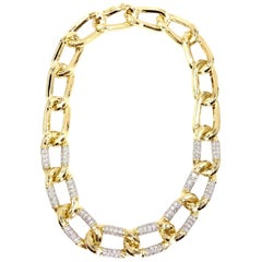 18 Karat and Platinum Charles Turi Large Oval Link Necklace with Diamonds
