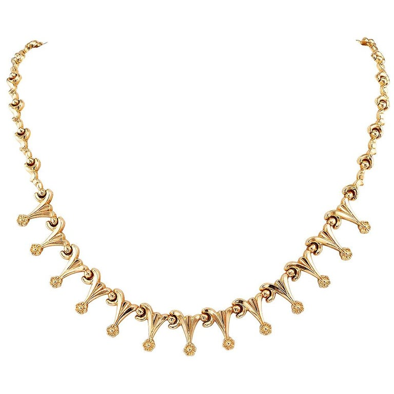Retro Gold Link Necklace For Sale