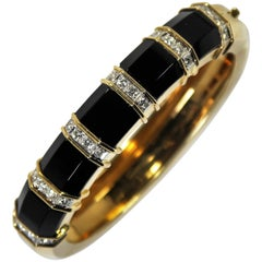 Onyx, Gold and Diamond Bangle