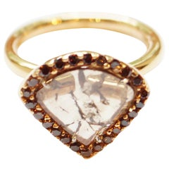 18 Karat Rose Gold Triangular Brown Diamond Slice Ring