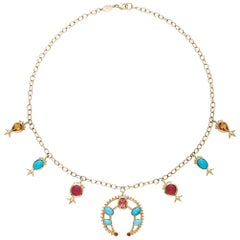 Marlo Laz Turquoise Pink Tourmaline Citrin 14K YG Squash Blossom Charm Necklace