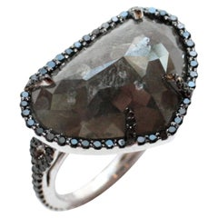 Platinum Grey Pear-Shaped Rose-Cut and Black Diamond Bintou Ring