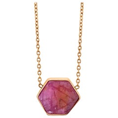 18 Karat Raw Natural Ruby I Bezel Set Chain Necklace