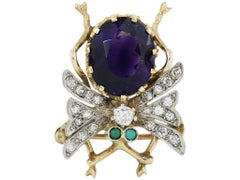 3.78 Carat Vintage Amethyst Insect Pin