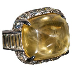 Pyramidal Cabochon Yellow Sapphire and Diamond Ring 'No heat'