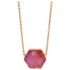 Raw Natural Ruby II Bezel Set Chain Necklace 18k Rose Gold