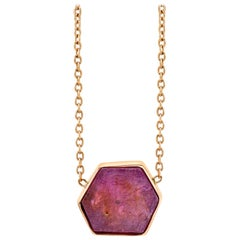Raw Natural Ruby III Bezel Set Chain Necklace 18k Rose Gold