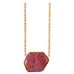 Raw Natural Ruby IV Bezel Set Chain Necklace 18k Rose Gold