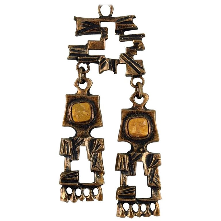 Pentti Sarpaneva, Finland, Bronze Necklace with Yellow Stones For Sale