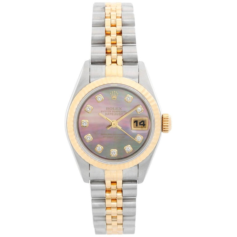 Rolex Datejust Ladies 2-Tone Mother of Pearl Diamond Dial 79173 For Sale