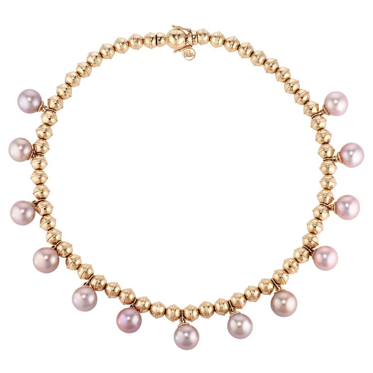 Marlo Laz Pearl 14K Yellow Gold Bead Squash Blossom Southwestern Collar Necklace For Sale