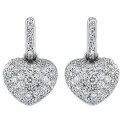 2.24 Carat Pave Set Diamond Heart Earrings