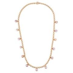 Pink Pearl 14 Karat Yellow Gold Bead Squash Blossom Southwestern Long Necklace