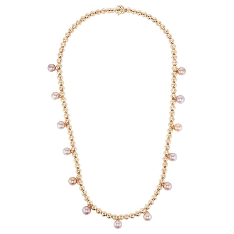Marlo Laz Pink Pearl 14K Yellow Gold Bead Squash Blossom Southwestern Necklace For Sale