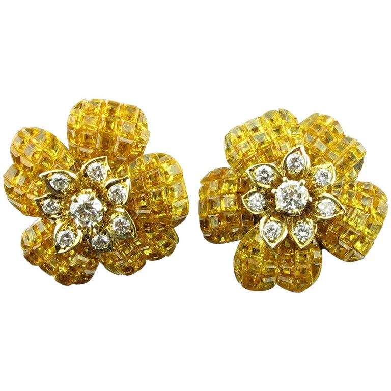 Yellow Sapphire and Diamond Flower Earrings 1
