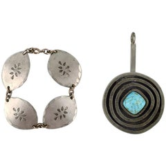 Jorgen Jensen, Denmark, Bracelet and Pendant in Pewter with Turquoise