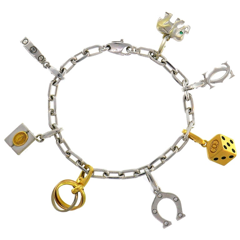 Cartier Diamond Gold Charm Bracelet with Signature Cartier Charms
