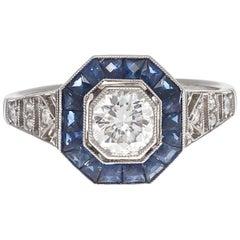 Art Deco Revival 0,68 Karat Diamant Saphir Platin Verlobungsring